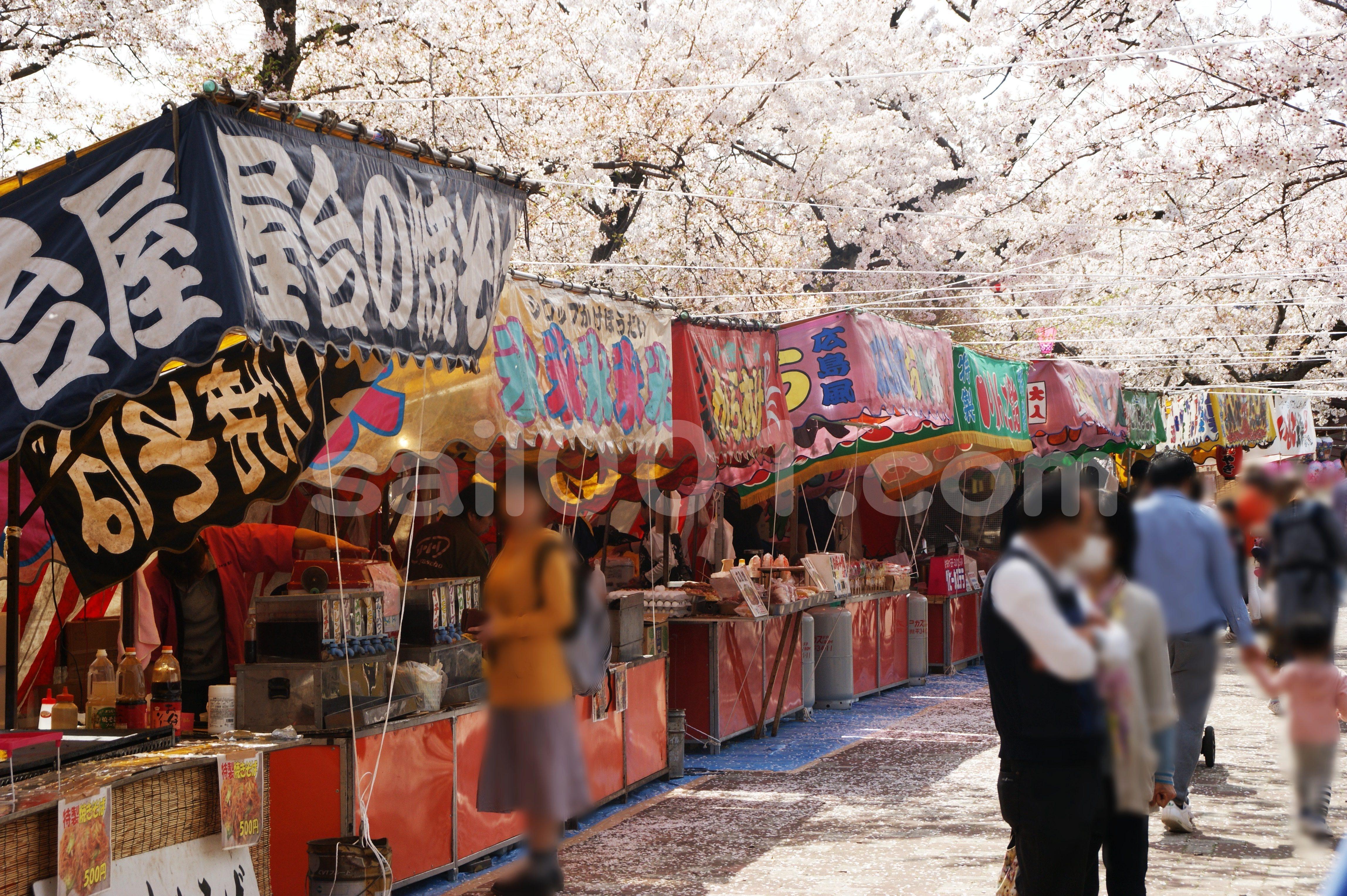 屋台の上に桜が広がる