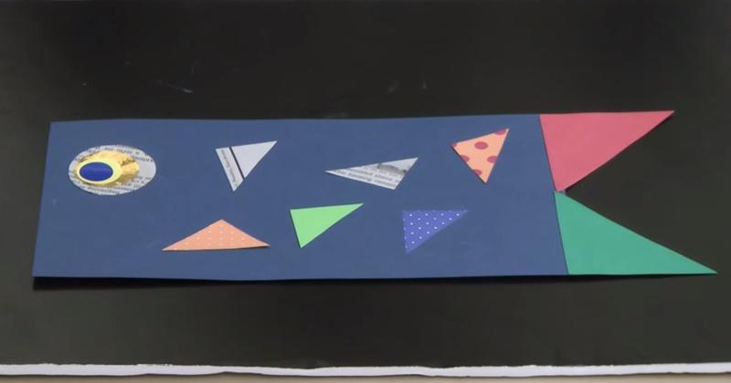 画用紙と折り紙のこいのぼり