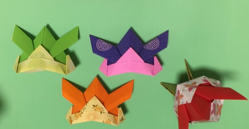 折り紙「かぶと」「飾り台」